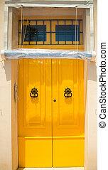 ajtó, épület, elülső