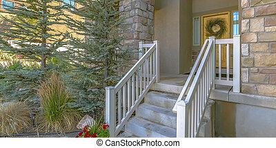 ajtó, ólmozás, koszorú, sárga, elülső, lépcsősor
