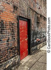 ajtó, fal, 2, öreg, tégla, piros