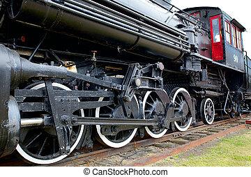 ajtó, gőzöl kíséret, lokomotív, öreg, lejtő, piros, bal