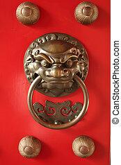 ajtó, gyám, oltalom, fogantyú, kínai