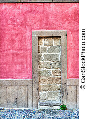 ajtó, hdr, walled-up, falusias