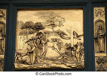 ajtó, keresztelőkápolna, -, előest, ádám, paradicsom,...