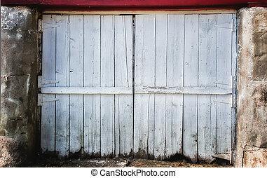 ajtó, kopott, háttérfüggöny, istálló