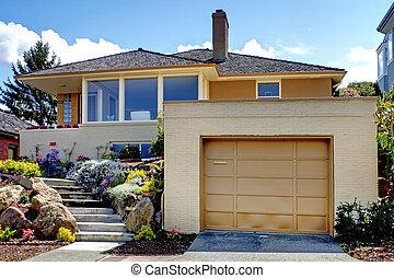ajtó, staircase., modern, garázs, karamell szín, épület
