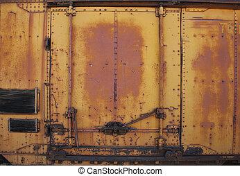 ajtó, szüret, fém, berozsdásodott, kíséret autó