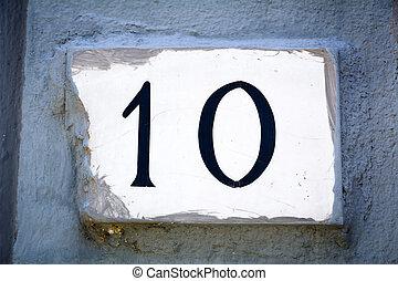 ajtó, tíz, fal, bevakol, szám cégtábla