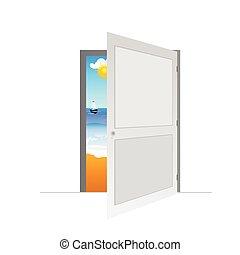 ajtó, vektor, tengerpart, ábra