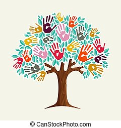 ajuda, árvore, ilustração, mão, diverso, comunidade
