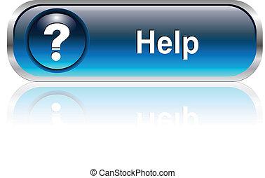ajuda, ícone, botão