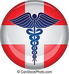 ajuda, botão, primeiro, médico, caduceus
