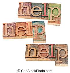ajuda, conceito, em, madeira, tipo