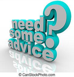 ajuda, conselho, algum, palavras, necessidade, assistência,...