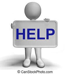 ajuda, conselho, placa sinal, assistência, apoio, mostra
