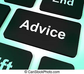 ajuda, conselho, tecla computador, assistência, mostrando