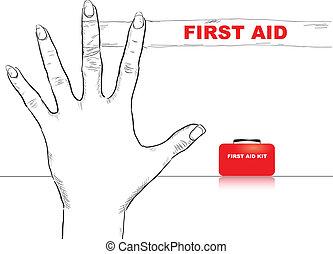 ajuda, dedo, primeiro