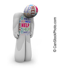 ajuda, deprimido, -, uma pessoa, necessidade, sozinha, cuidado