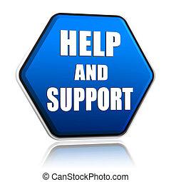 ajuda, e, apoio, em, hexágono, botão