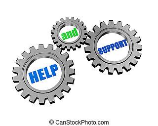 ajuda, e, apoio, em, prata, cinzento, engrenagens