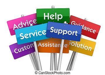 ajuda, e, apoio, sinais, conceito, 3d, ilustração