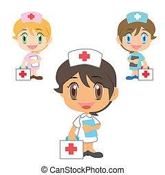 ajuda, enfermeira, primeiro, equipamento