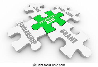 ajuda financeira, bolsa de estudo, empréstimo, concessão, educação superior, quebra-cabeça, 3d, ilustração