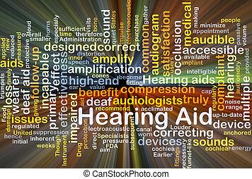 ajuda, glowing, conceito, fundo, ouvindo