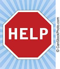 ajuda, ilustração, sinal