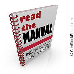 ajuda, ler, conselho, manual, livro, instruções