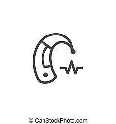 ajuda, linha, ouvindo, ícone