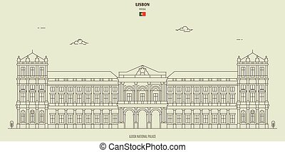 Ajuda National Palace in Lisbon, Portugal. Landmark icon in linear style