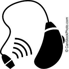 ajuda, ouvindo, ícone