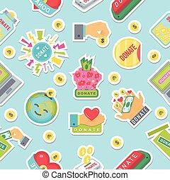 ajuda, pattern., botões, doação, doar, ícone