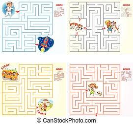 ajuda, personagem, maneira, labirinto, achar, saída