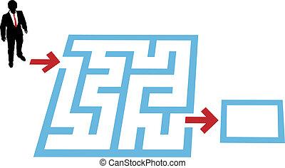 ajuda, pessoa negócio, achar, labirinto, problema, solução