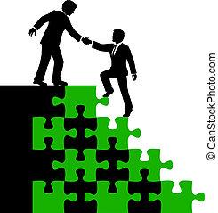 ajuda, pessoas negócio, solução, sócio, achar