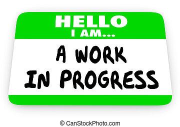 ajuda, próprio, trabalho, ilustração, nomear tag, im, progresso, olá, 3d