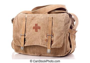 ajuda, primeiro, antigas, saco, militar