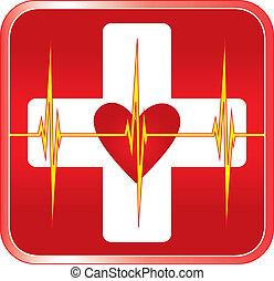 ajuda, símbolo médico, primeiro