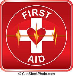 ajuda, símbolo, saúde, primeiro