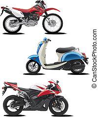 ajuda, três, ilustrações, vetorial, motorcycle., desenhistas