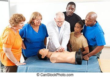 ajuda, treinamento, adultos, primeiro