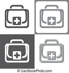 ajuda, vetorial, equipamento, ilustração, primeiro