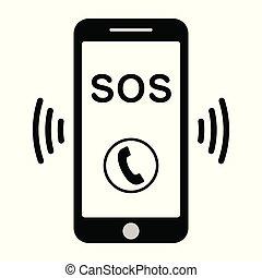 ajuda, vetorial, telefone, sinal, sos, chamada, telefone ícone