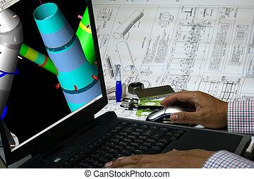 ajudado, computador, desenho