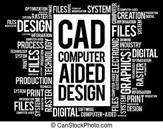 ajudado, palavra, -, computador, desenho, nuvem, cad