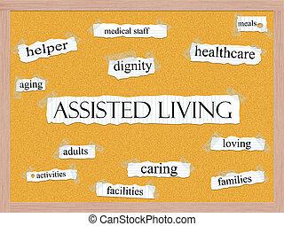 ajudado vivendo, corkboard, palavra, conceito