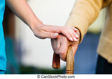 ajudando, a, idoso