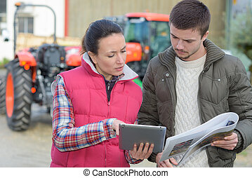 ajudando, agronomist, planificação, colheita, agricultor
