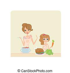 ajudando, cozinhar, filha, dela, mãe